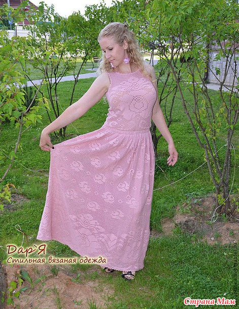 """Платье в пол в филейной технике.  """"Роза Нежная"""""""
