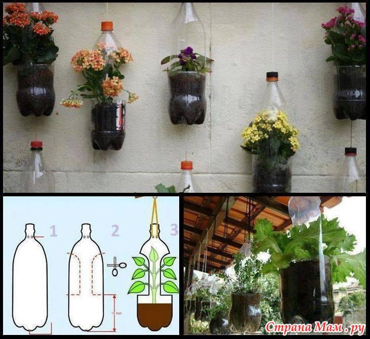 Кашпо подвесное для сада из пластиковых бутылок