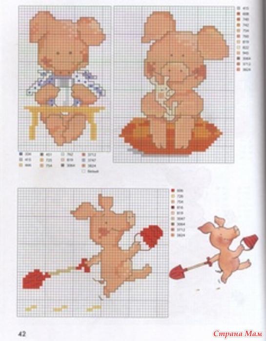Схема вышивки бегемотиков