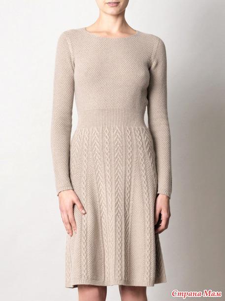 Платье спицами теплое - весна(осень)
