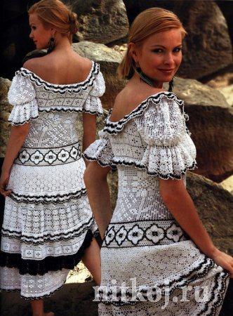 Бело-черное платье (вязание