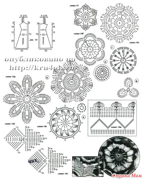 Схемы вязания цветочного кружева