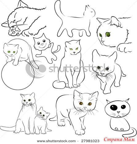 Рисунки котов своими руками