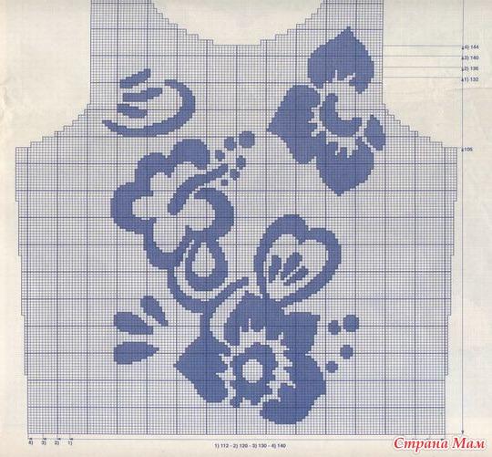 Цветы спицами жаккард