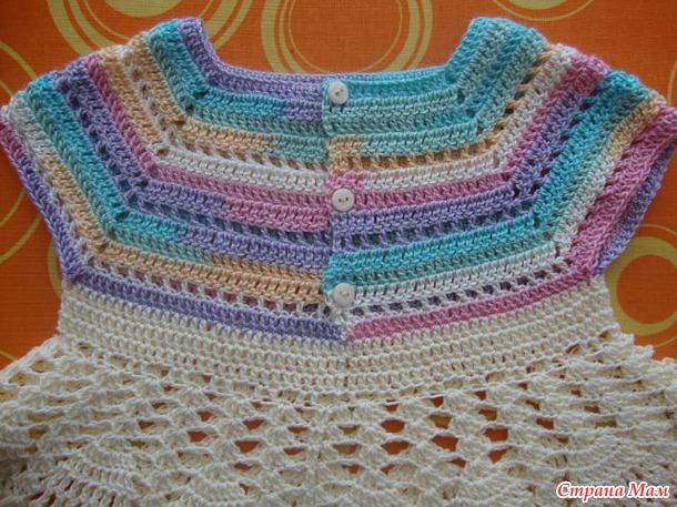 Вязание крючком платье детское кокетка