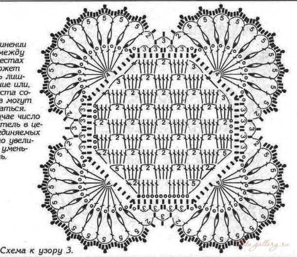 крючком вязание большой мотив ажурный квадрат