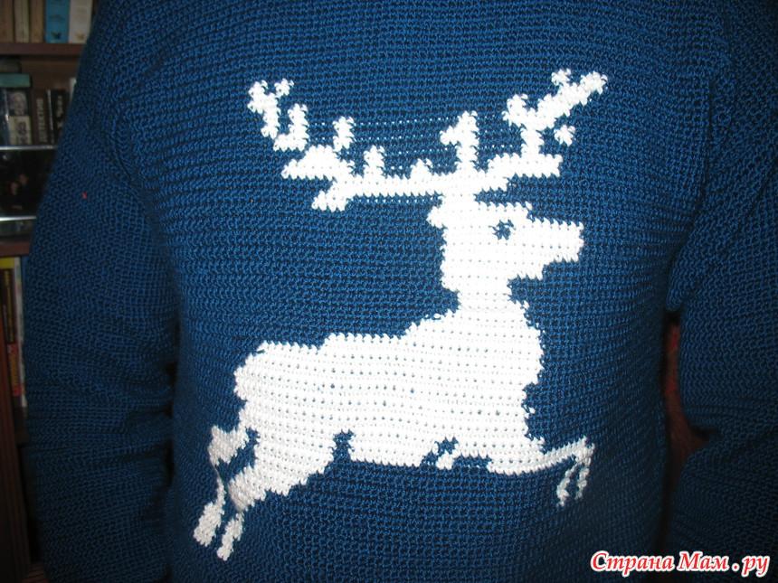 Вязание свитер с оленем