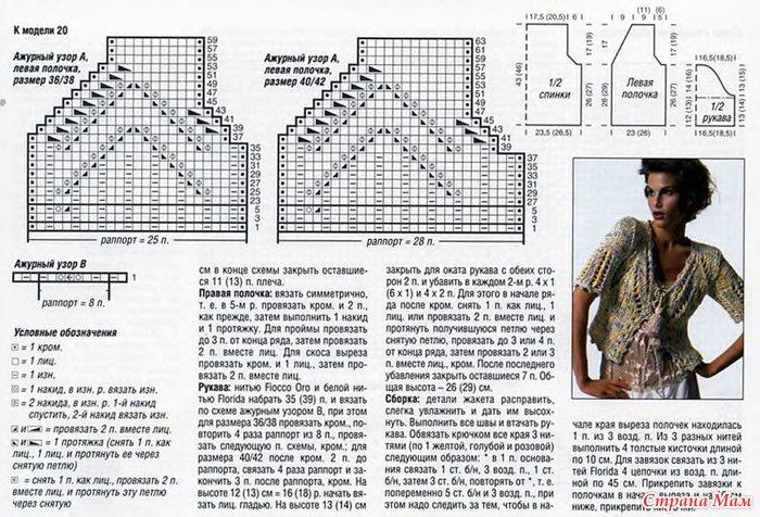 Схема вязания жакетов спицами 41