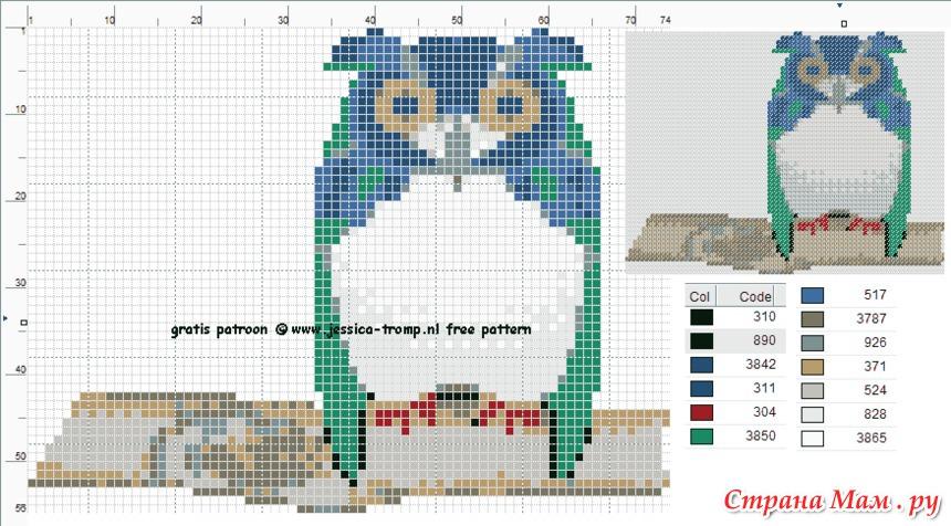 Схема вышивки крестом сова на горшке 16
