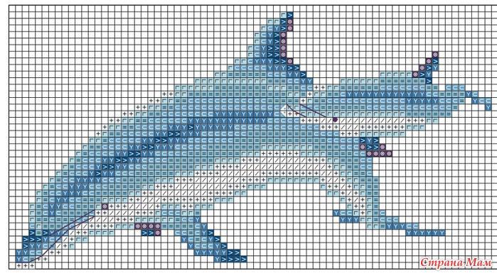 Дельфин схема вышивки крестом