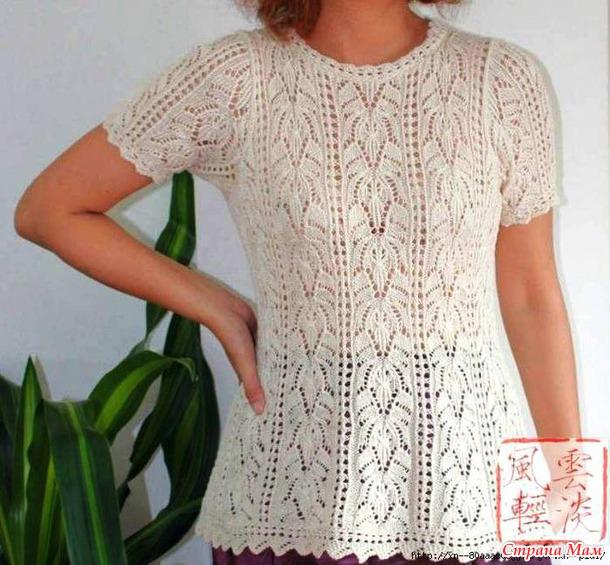 Ажурная блузка спицами, японская модель