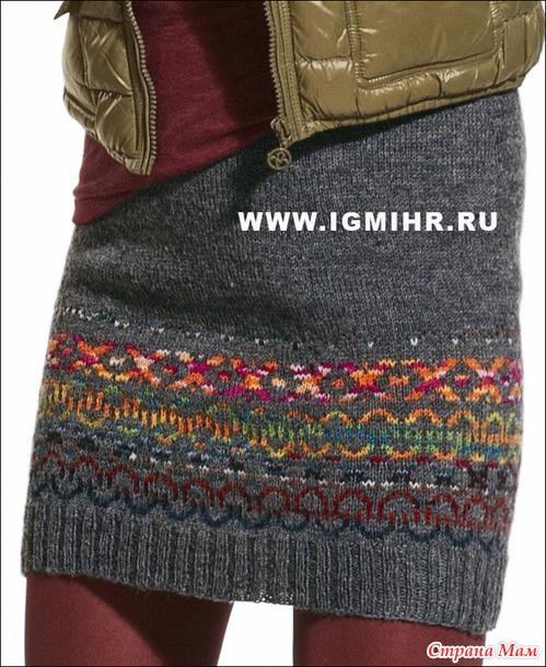 Шерстяная мини-юбка с жаккардовым узором, от Junghans-Wolle.