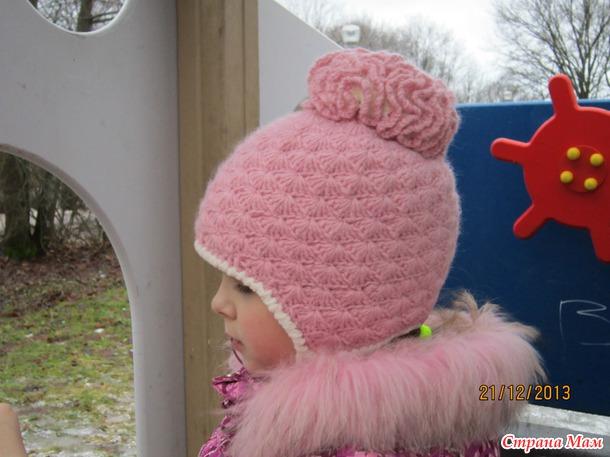 Вязание шапок из пряжи для девочки 77