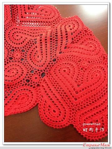 Вязание крючком платье сердечками