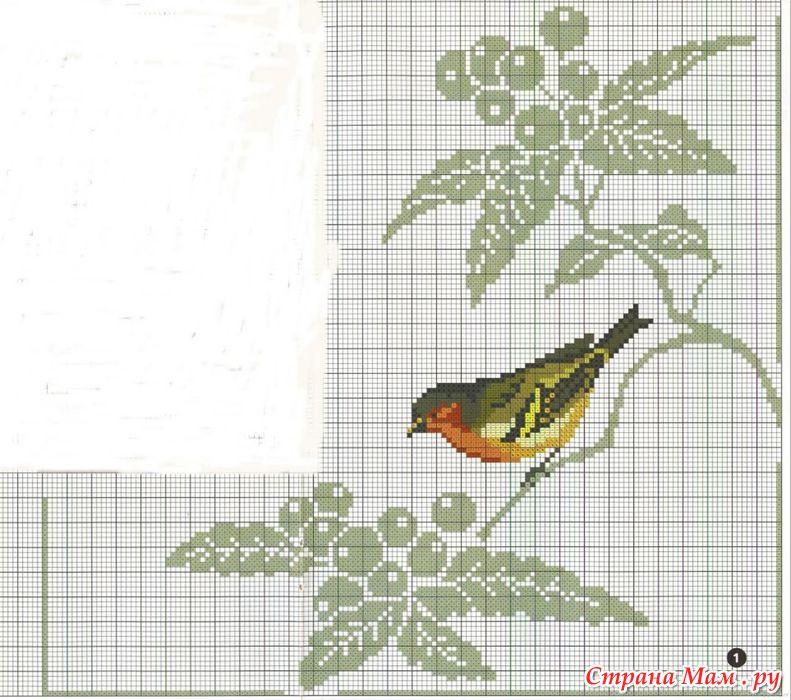 Вышивка птицы по крестикам 184