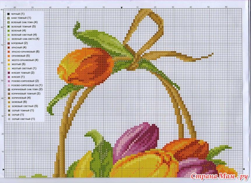 Схема для вышивки тюльпаны 33
