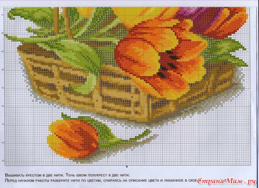 Схема для вышивки тюльпаны 43