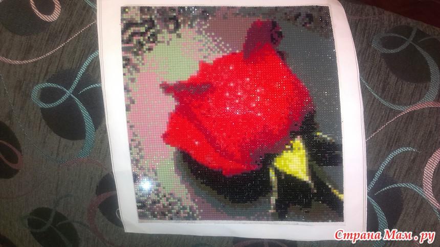 Фото алмазной вышивки розы