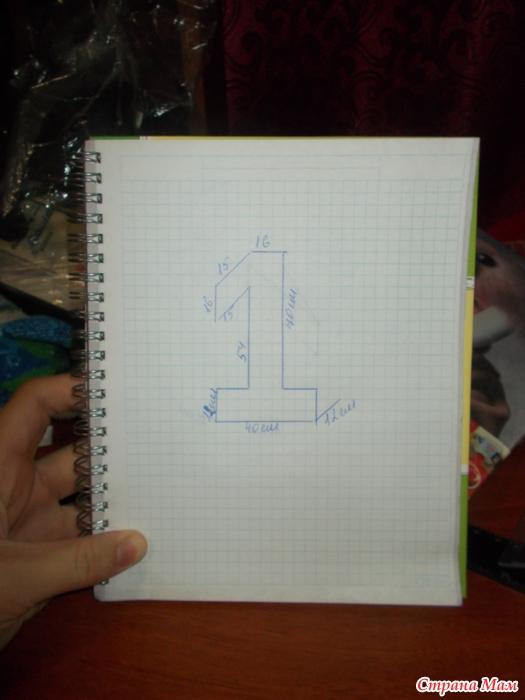 Объемная цифра 1 своими руками с размерами 95