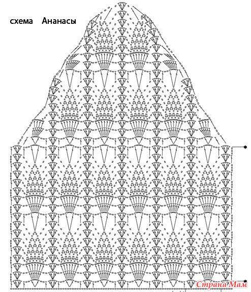 Схема вязание крючком кофточки узором ананас