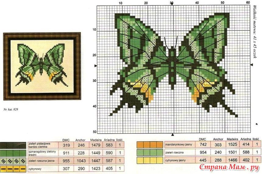 Вышивка Крестом Схемы Бабочки, Насекомые Графика