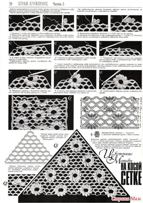 При вязании филейной сетки
