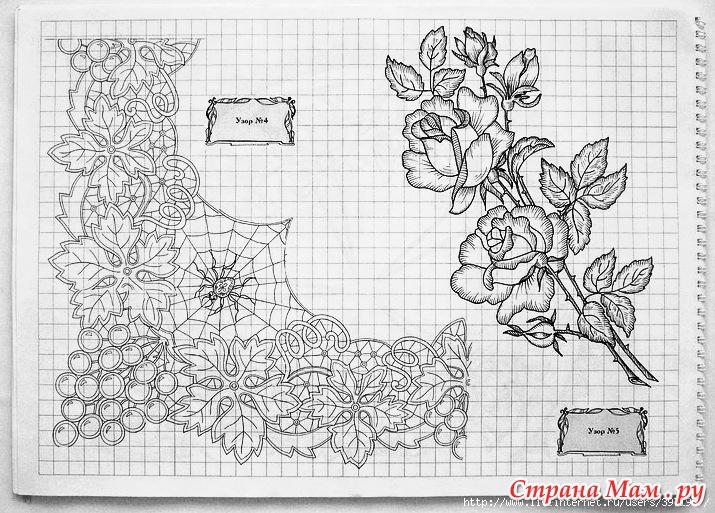 Вышивка ришелье схемы для скатерти 185