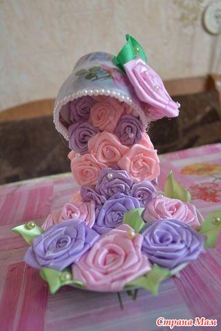 Парящая чашка с цветами в технике канзаши своими руками 122