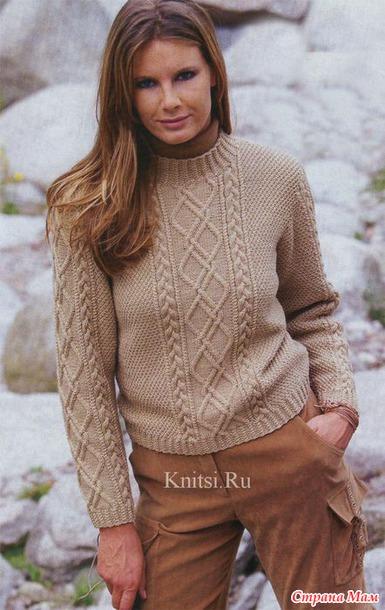 Пуловер с ромбами в обрамлении кос