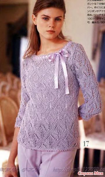 Элегантный ажурный пуловер спицами.