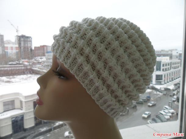 Вязание спицами шапка волны