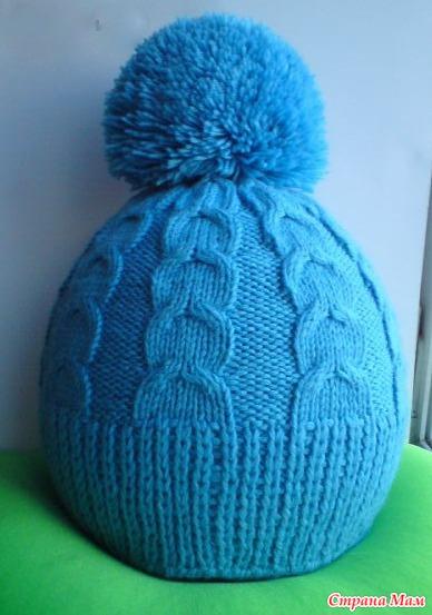 Вязание спицами шапки с бубоном схемы