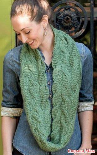 Зелёный снуд с косами от Pam Allen