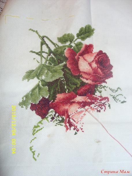 Виноград с розами вышивка 39