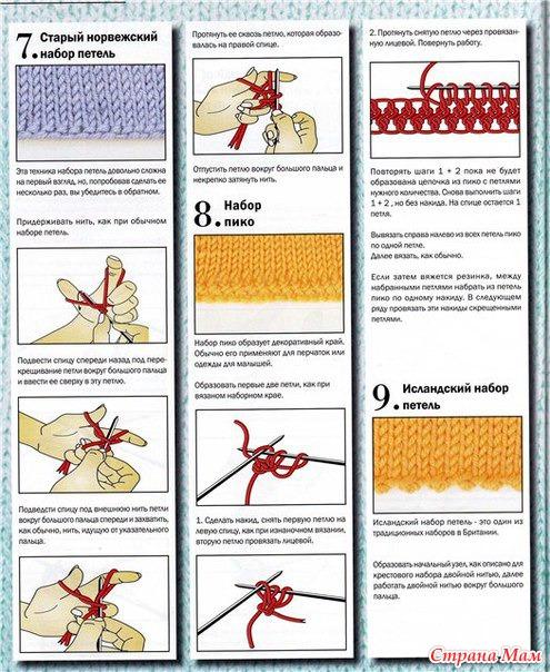 10 способов набора петель для вязания спицами.