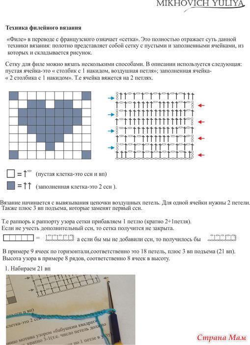 Филейное вязание читать схемы вязания 498