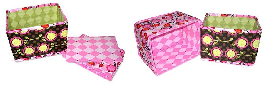 Сделать коробочку из картона с тканью