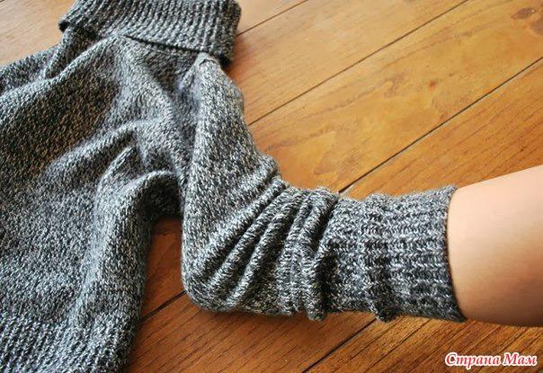 Как сшить теплые носки из старой кофты