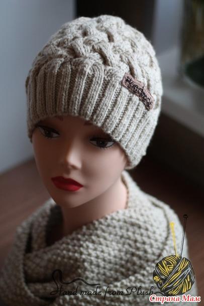шапка плетенка для женщины