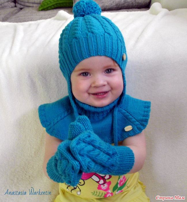 Вязание манишки и шапки