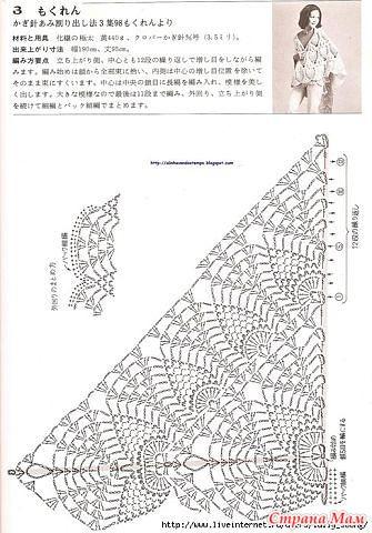 Вязание крючком шаль ананасами схема