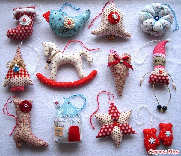 Новогодние игрушки своими руками фото из ткани