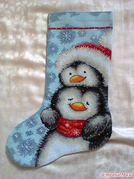 Сапожки вышивка пингвины