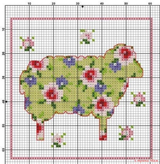 Схемы вышивок крестом овечек