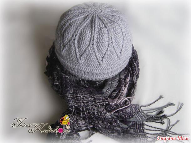 Теплая шапочка крючком и спицами