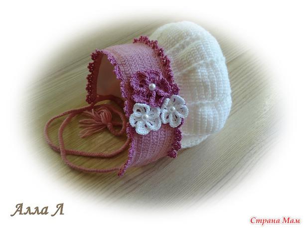 Нежная шапочка-капор для дочки (описание)
