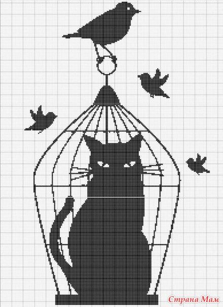 Вышивки кошки монохромные
