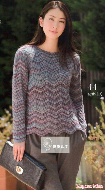 Теплый пуловер спицами.