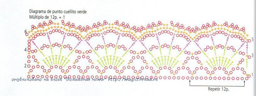 Схема вязания воротника спицами школьной формы6