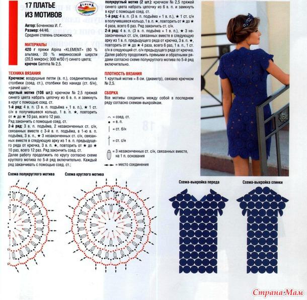 Вязание крючком из мотивов схемы и описание модели для женщин